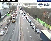 Traffic Cam  A13 - East India Dock Road  London  UK London United Kingdom - Webcams Abroad live images